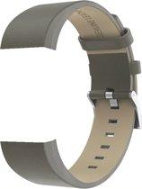 Leren band voor Fitbit Charge 2 - Bandje van leer Fitbit Charge 2 - Bandje leather voor Fitbit Charge 2 - KELERINO - Grijs