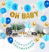 BABYSHOWER VERSIERING | jongen| blauw met goud| feestpakket met 27 items