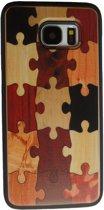 Samsung Galaxy S7 hoesje met houten puzzel design achterkant