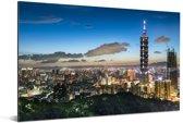 De toren van Taipei 101 in het Aziatische Taiwan Aluminium 180x120 cm - Foto print op Aluminium (metaal wanddecoratie) XXL / Groot formaat!