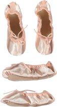 Balletschoen Tappers & Pointers satijn roze lederen zool - (21cm) Schoenmaat 33
