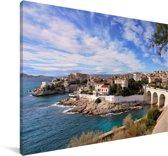 Uitzicht vanaf de zee op Marseille in Frankrijk Canvas 120x80 cm - Foto print op Canvas schilderij (Wanddecoratie woonkamer / slaapkamer) / Europese steden Canvas Schilderijen