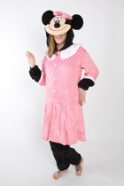KIMU Onesie Minnie Mouse pak roze kostuum polkadots muis - maat S-M - muizenpak jumpsuit huispak festival