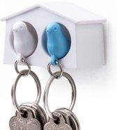 Qualy Mini Sparrow Duo sleutelhanger - Wit/Blauw