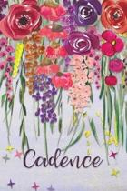 Cadence: Personalized Lined Journal - Colorful Floral Waterfall (Customized Name Gifts)