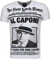 Local Fanatic Al Capone - Rhinestone T-shirt - Wit - Maten: L