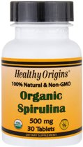 Healthy Origins, Organic Spirulina, 500 mg, 30 tabletten
