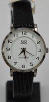 Dames horloge -met zwart leren band Q945J304Y