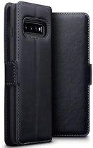 Hoesje voor Samsung Galaxy S10, echt leren 3-in-1 bookcase, zwart