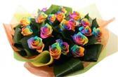 Boeket 10 regenboog rozen