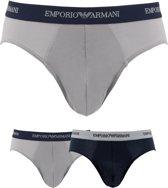 Emporio Armani - Basis 2-pack Slips Grijs / Blauw - S