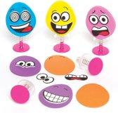 Speelset springfiguurtje ei met grappig gezicht voor kinderen. Vulling voor het feesttasje met Pasen of een kindercadeautje (verpakking van 6)