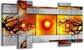 Canvas schilderij Art   Grijs, Zwart, Oranje   120x65 5Luik