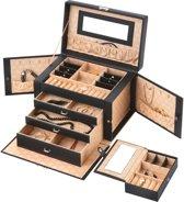 Treasury Wings Sieradendoos XL – Luxe juwelendoos met spiegel – Bijouteriedoos met slotje – Zwart