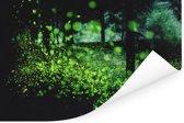 Miljoenen vuurvliegjes in een bos Poster 180x120 cm - Foto print op Poster (wanddecoratie woonkamer / slaapkamer) XXL / Groot formaat!