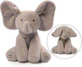 Flappy de olifant - speelt kiekeboe en zingt (Engelstalig) knuffel, olifant knuffel