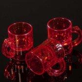 Rode kunststof shotglaasjes transparant - 2,5 cl - 50 stuks