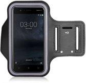 Sportband hoes hardloop sport armband Nokia 3 - Zwart