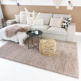 Hoogpolig vloerkleed shaggy Trend effen - beige 60x110 cm