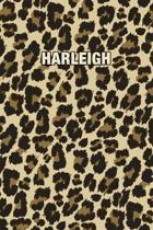 Harleigh: Personalized Notebook - Leopard Print (Animal Pattern). Blank College Ruled (Lined) Journal for Notes, Journaling, Dia
