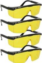 4x Vuurwerkbril met gele glazen voor nachtzicht voor volwassenen - antikras - beschermbrillen