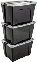 IRIS New Topbox opbergbox - 60L - Kunststof - Zwart/Transparant/Zwart - 3 stuks