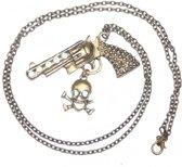 Stoere ketting retro brons met revolver pistool hanger en doodshoofd