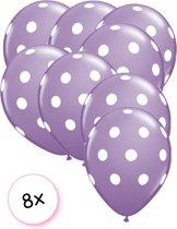 Ballonnen dots paars - wit 8 stuks 30 cm