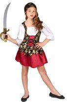 LUCIDA - Goudkleurige schedels piraten kostuum voor meisjes - M 122/128 (7-9 jaar) - Kinderkostuums