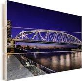 Fietsbrug over de rivier de Waal in Nijmegen Vurenhout met planken 30x20 cm - klein - Foto print op Hout (Wanddecoratie)