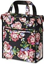 Basil Blossom Roses Shopper - Fietstas - Zwart