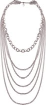 TOV Essentials Ketting 1834.003 - Multi Chain Layer Necklace - 41-45 cm - Zilverkleurig