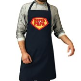 Super papa barbeque schort / keukenschort navy blauw voor heren - bbq schorten