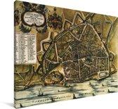 De historische stadskaart van Nijmegen Canvas - Plattegrond 30x20 cm - klein - Foto print op Canvas schilderij (Wanddecoratie woonkamer / slaapkamer)