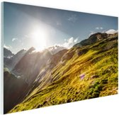 Grasrijk berggebied Glas 120x80 cm - Foto print op Glas (Plexiglas wanddecoratie)