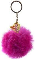Kamparo Sleutelhanger Fluffy Pompom Roze 8 Cm