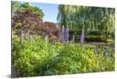 Tuin met kleurrijke kleuren in de Franse tuin van Monet in Europa Aluminium 180x120 cm - Foto print op Aluminium (metaal wanddecoratie) XXL / Groot formaat!
