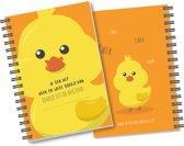 Heen en weer boekje oppasboekje voor kinderopvang met ringband: eendje