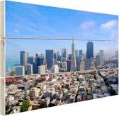 Luchtfoto van San Fransisco Hout 120x80 cm - Foto print op Hout (Wanddecoratie)