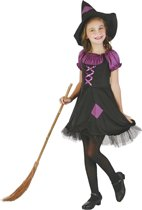 LUCIDA - Paarse en zwarte heksen outfit voor meisjes - M 122/128 (7-9 jaar) - Kinderkostuums