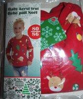 baby kerst trui rood 80-86