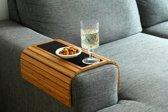 Kos Design Flexibel dienblad voor over de armleuning van bank of stoel - 100% Bamboe - Beschermende coating - XL - Anti slip