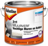 Alabastine 2in1 Muurverf - Vochtige Muren en Kelders - Helder wit - 2,5 liter
