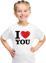 Wit I love You t-shirt kinderen XS (110-116)