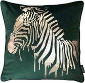 Velvet Zebra Groen Kussenhoes | Fluweel - Polyester | 45 x 45 cm | Goud