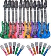 relaxdays 48-delige set, opblaasbare gitaar en microfoon, kinderen, verschillende kleuren