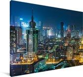 De gebouwen in Dalian in de avond Canvas 90x60 cm - Foto print op Canvas schilderij (Wanddecoratie woonkamer / slaapkamer) / Aziatische steden Canvas Schilderijen