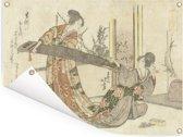 Twee vrouwen met een koto - Schilderij van Katsushika Hokusai Tuinposter 160x120 cm - Tuindoek / Buitencanvas / Schilderijen voor buiten (tuin decoratie) XXL / Groot formaat!