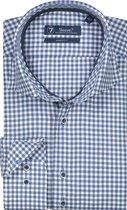 Sleeve7 Heren Overhemd Navy Kleine Ruit Twill - 45