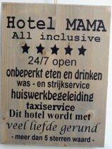 Tekstbord steigerhout hotel mama